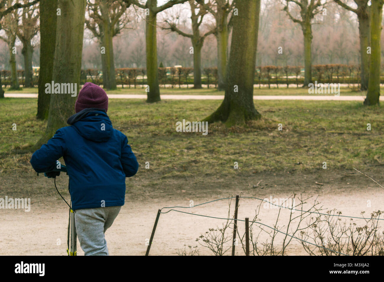 Boy riding a scooter in a cold winter day in a park. Unfocused trees on the background with the image of the boy - Stock Image