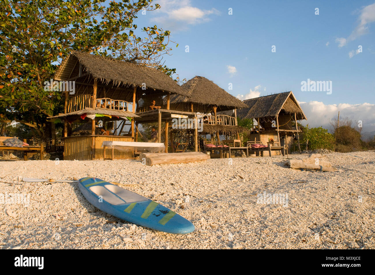 Scenic Landscape. Sunset at Gili Meno Island. Lombok, Indonesia. In the northwest of the island is the Café - Stock Image