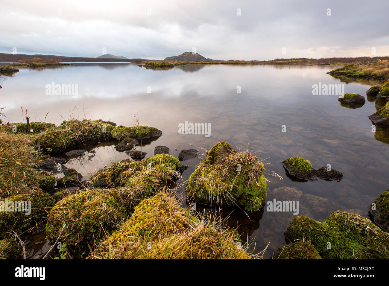 beautiful Sunset at lake in South Iceland europe - Stock Image