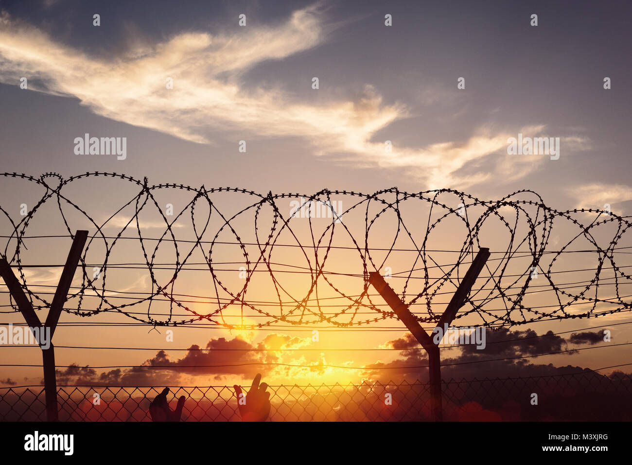 Silhouette of two hands on a fence at sunset - Stock Image