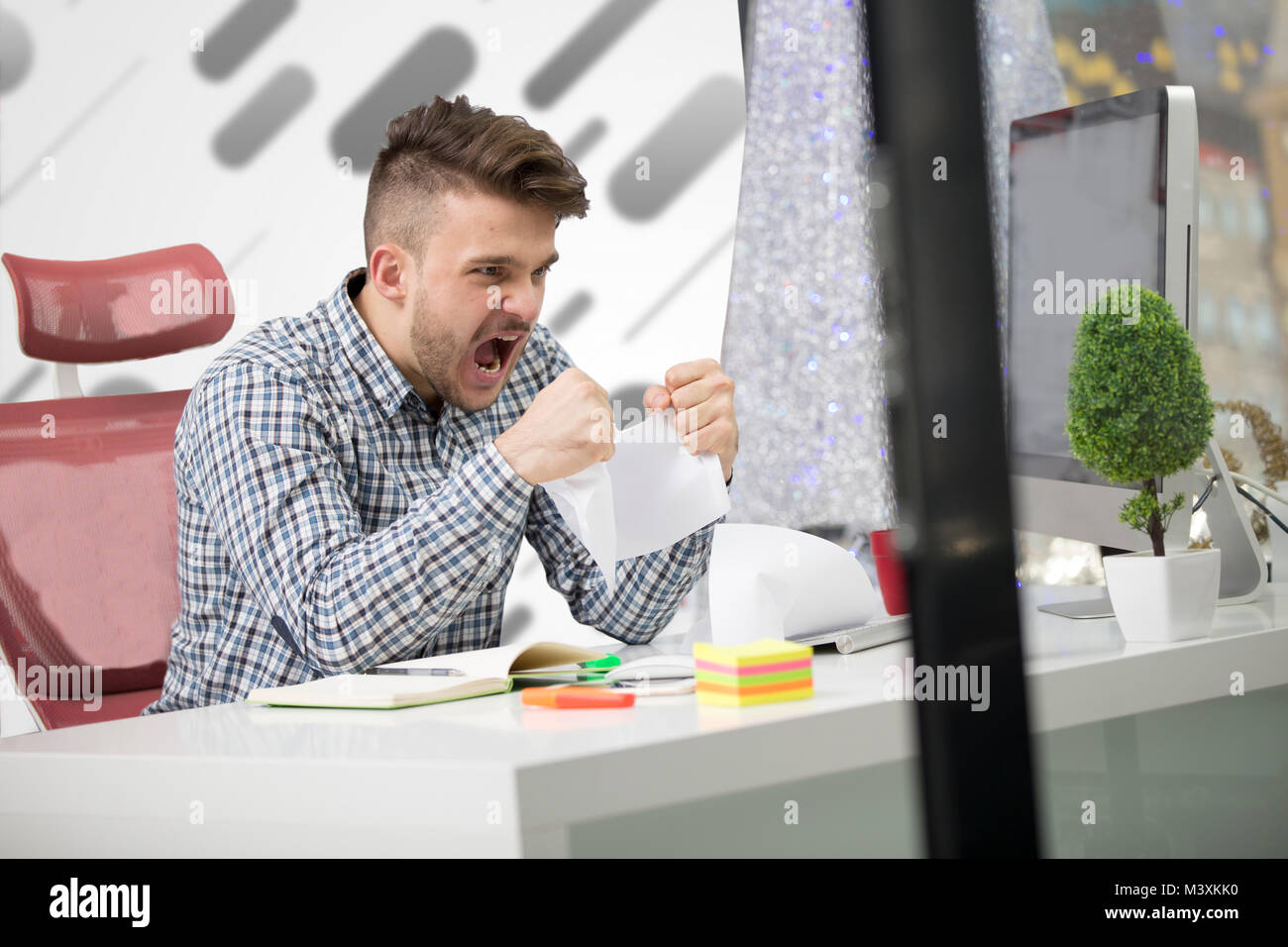 business, people, stress, emotions and fail concept - angry businessman throwing papers in office - Stock Image