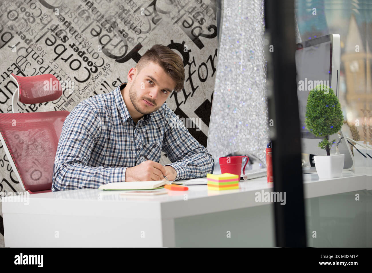 Handsome young man working with laptop in office - Stock Image