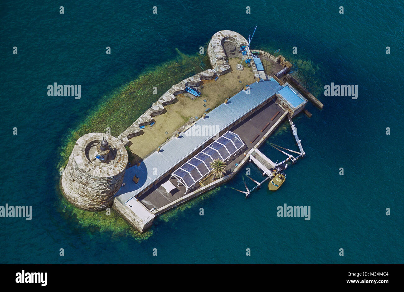 Aerial view of Fort Denison, the former convict site on Sydney Harbour, 1km east of Sydney Opera House. Formerly - Stock Image