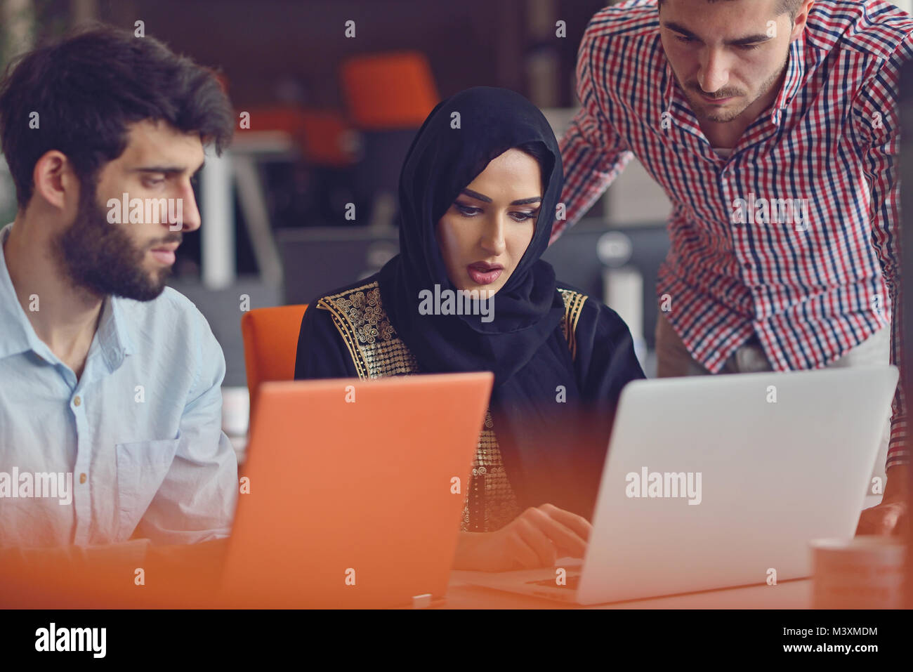 Group Young Coworkers Making Great Business Decisions.Creative Team Discussion Corporate Work Concept Modern Office. - Stock Image