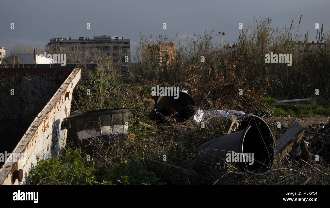 A bunch of trash left after a construction - Stock Image