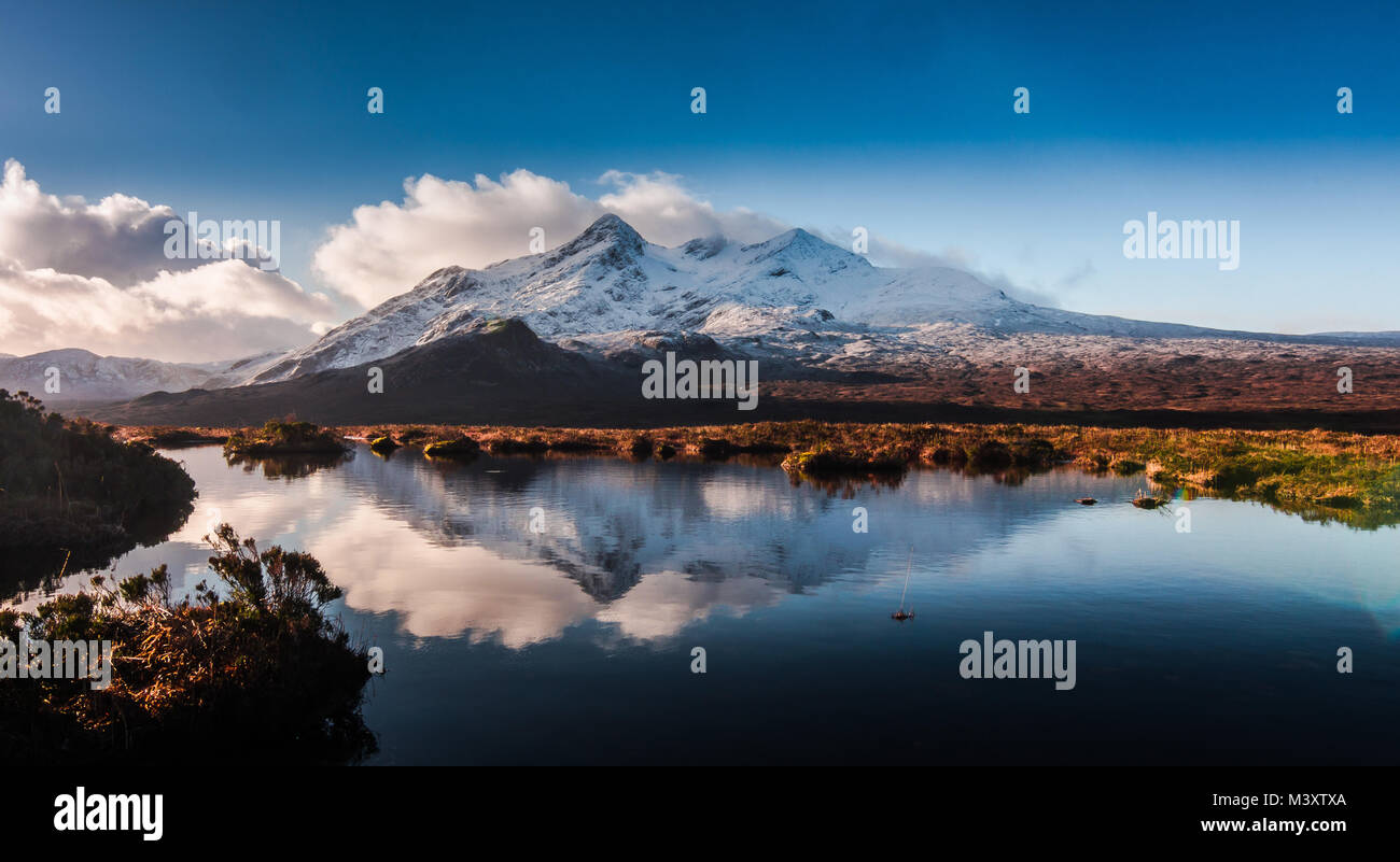 Snowy Cuillin Ridge - Isle of Skye - Stock Image