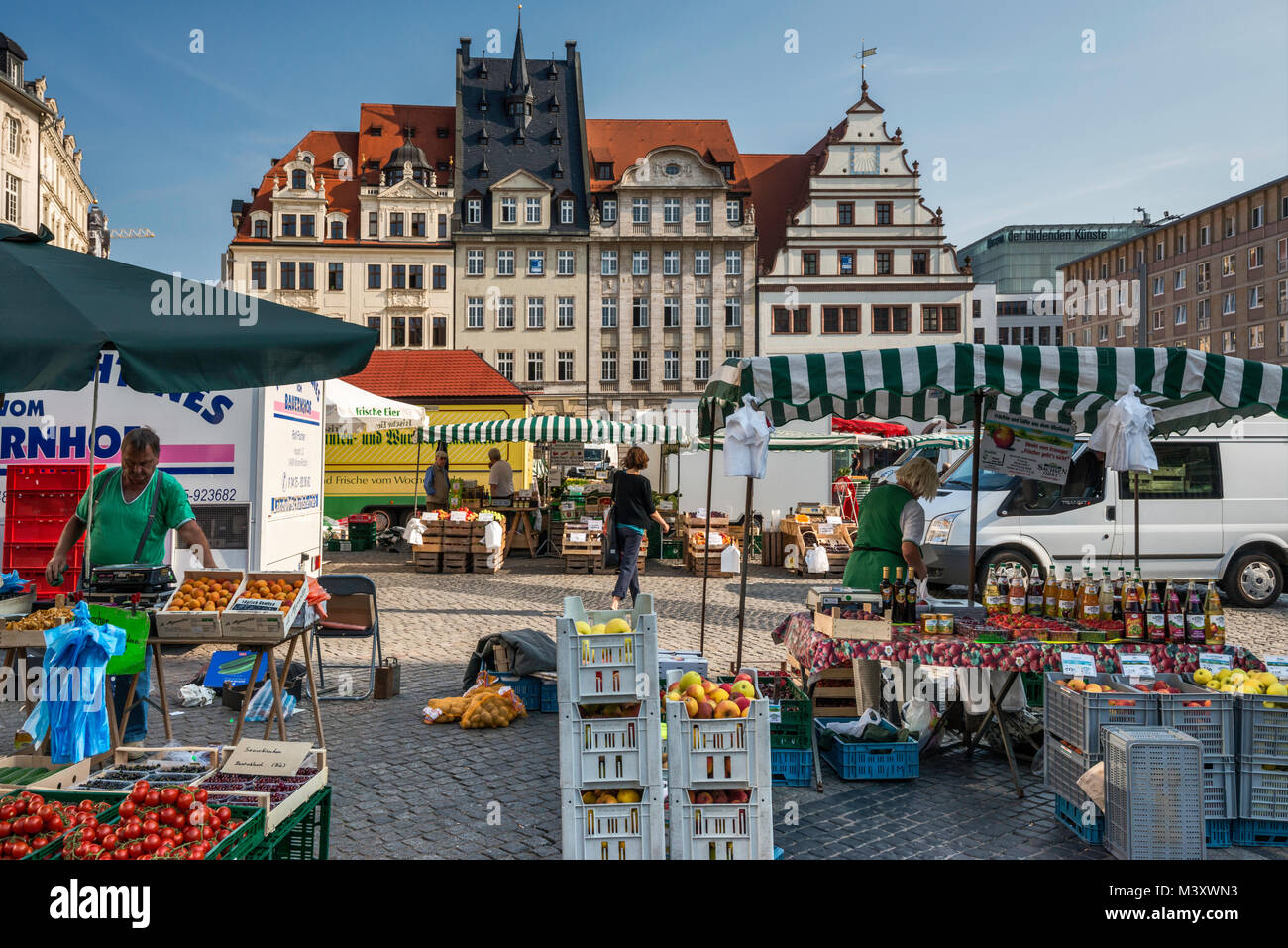 Market day at Markt in Leipzig, Saxony, Germany - Stock Image