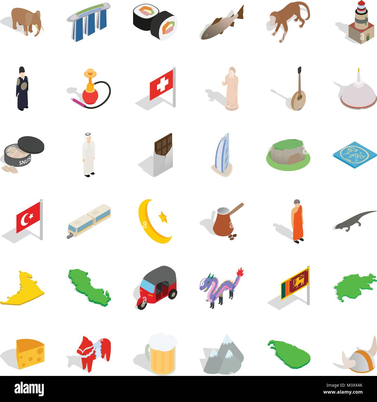 Underage icons set, isometric style - Stock Vector