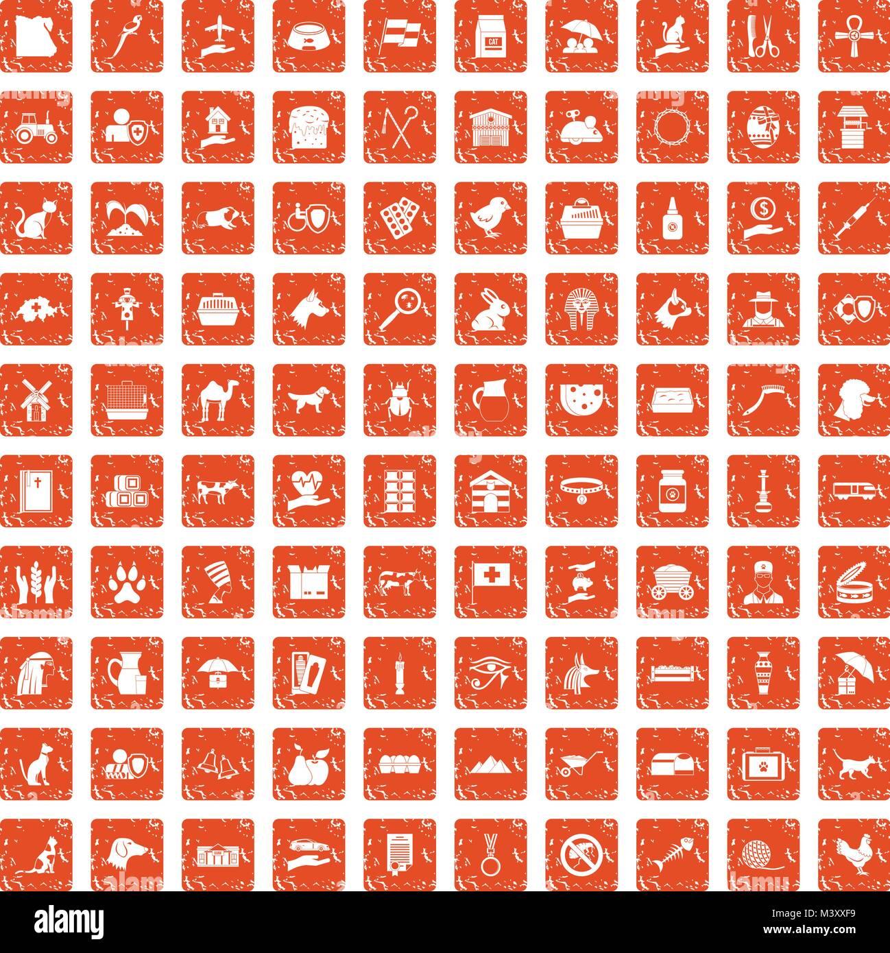 100 pets icons set grunge orange - Stock Image