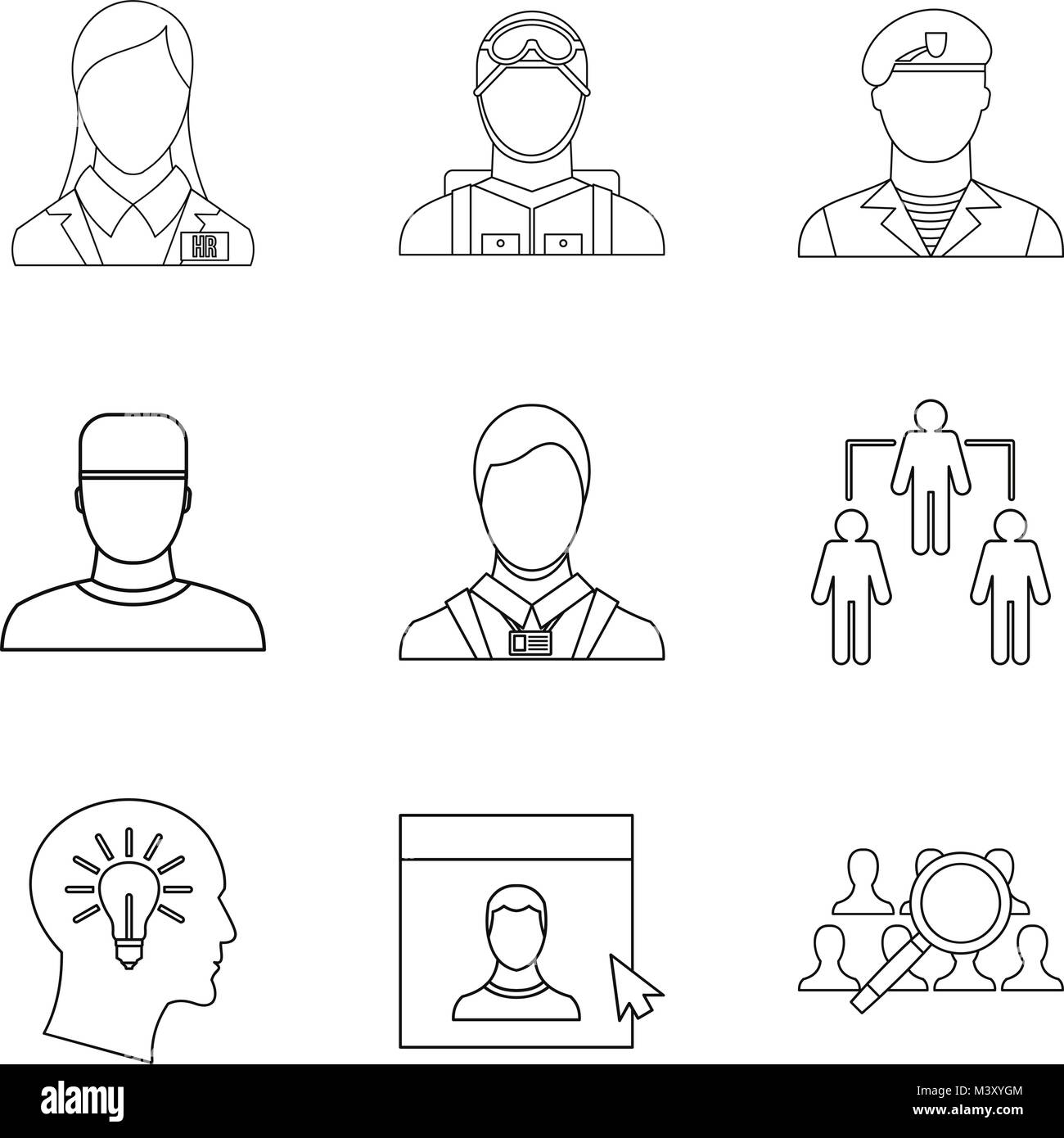 Personage icons set, outline style - Stock Image