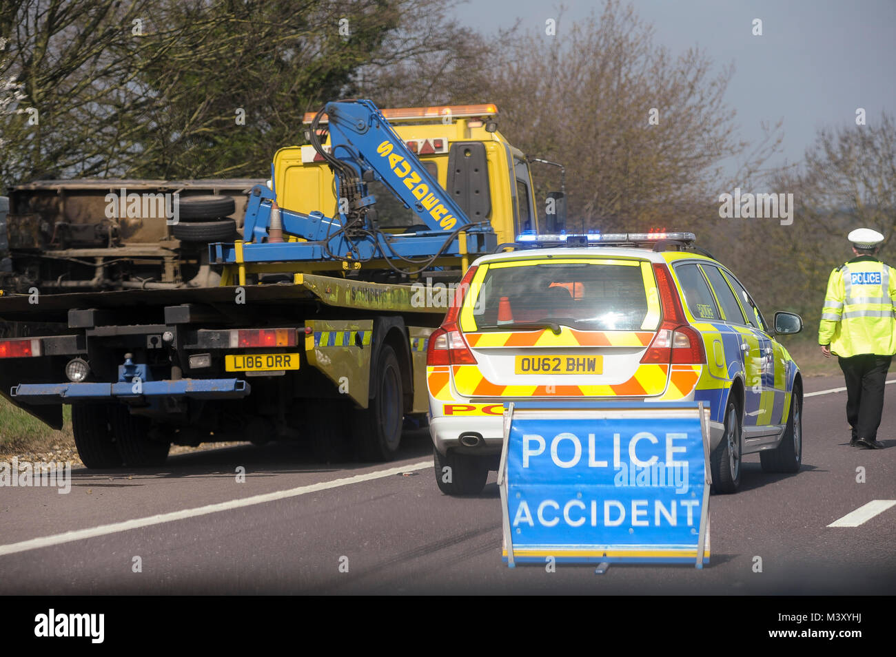 Road accident on M25 motorway encircles almost all of Greater London, England, United Kingdom. April 6th 2015 © - Stock Image