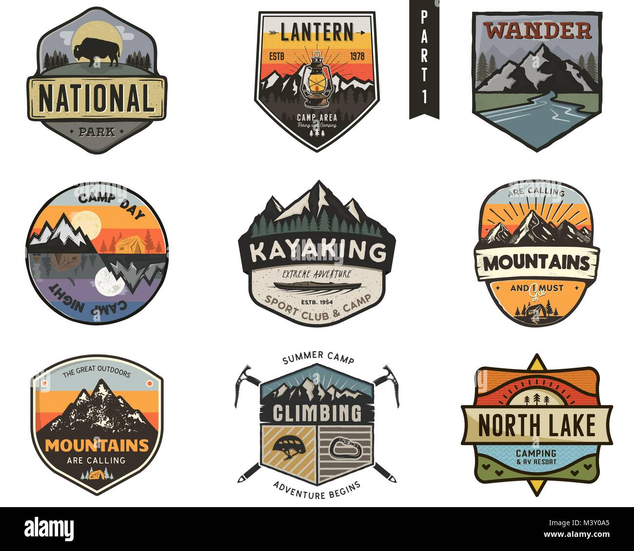 Set of vintage hand drawn travel badges. Camping labels concepts. Mountain expedition logo designs. Travel badges. Stock Vector