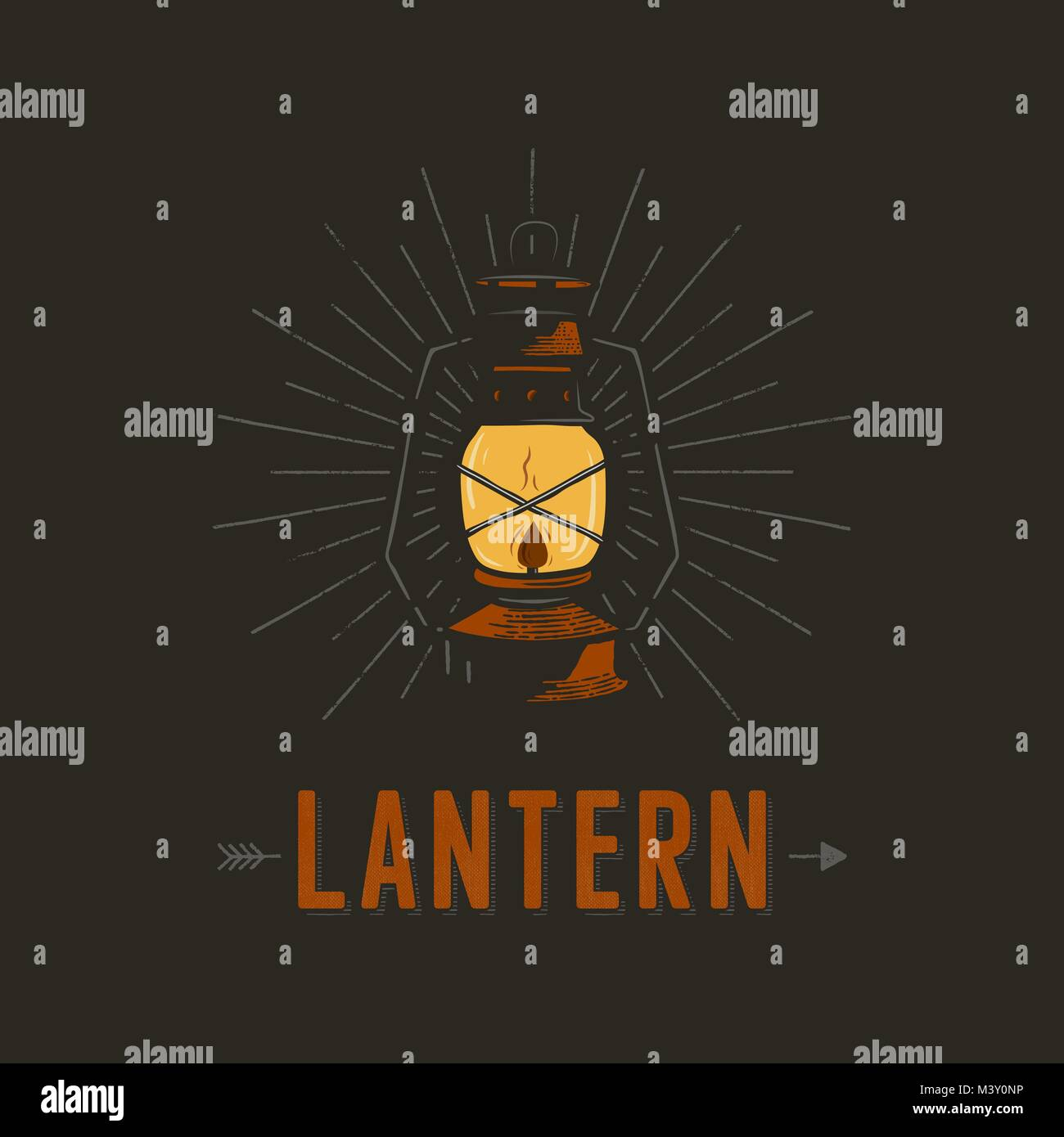 Vintage hand drawn lantern poster concept. Perfect for logo design, badge, camping labels. Retro colors. Symbol - Stock Vector