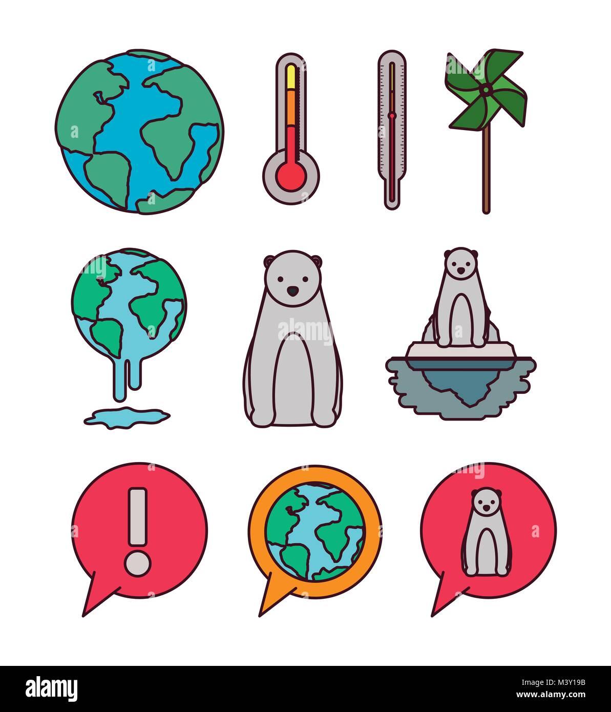 climate change set icons - Stock Image