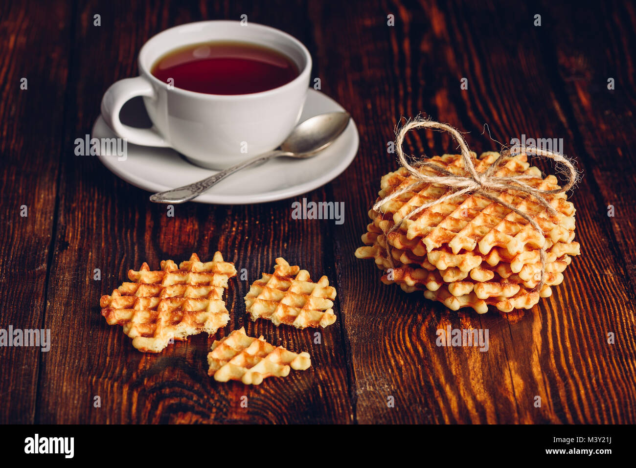 Rustic Breakfast with Hommade Waffles and Cup Tea. - Stock Image
