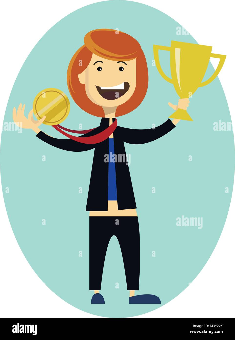 Woman sportsman wins Olympic Games. Sport girl holding gold medal in the hand. Sporting Achievement. Vector illustration - Stock Vector
