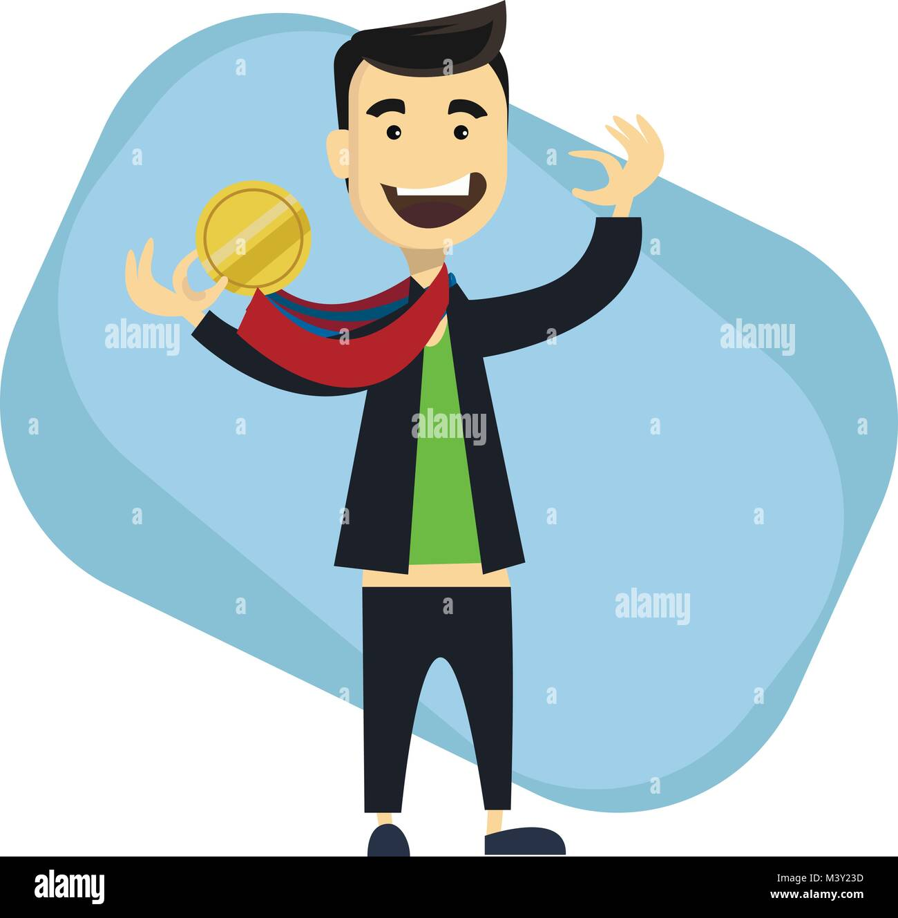 Man sportsman wins Olympic Games. Sport boy holding gold medal in the hand. Sporting Achievement. Vector illustration - Stock Vector