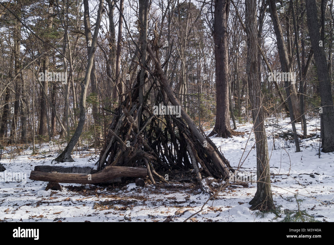 A hut or hut in the forest is like preparing for a signal or pioneer boyscout campfire - Stock Image