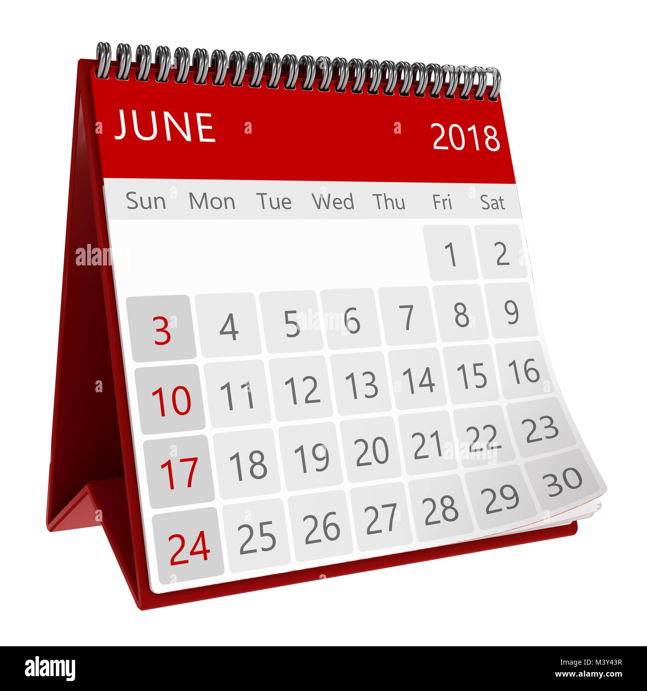 3d illustration of red monthly calendar isolated page june 2018