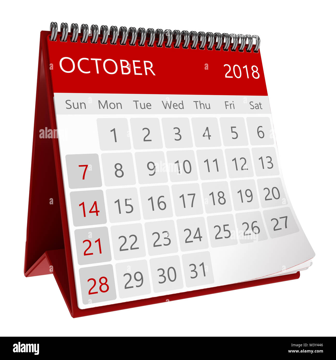 3d Illustration Of Red Monthly Calendar Isolated Page October 2018