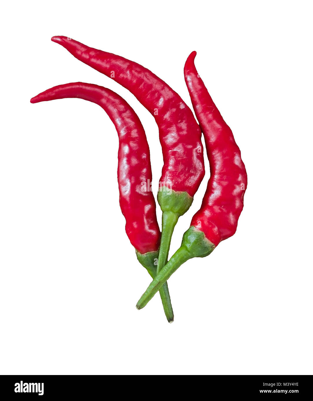 3 beautiful red chili peppers flame-shaped on white background - Stock Image