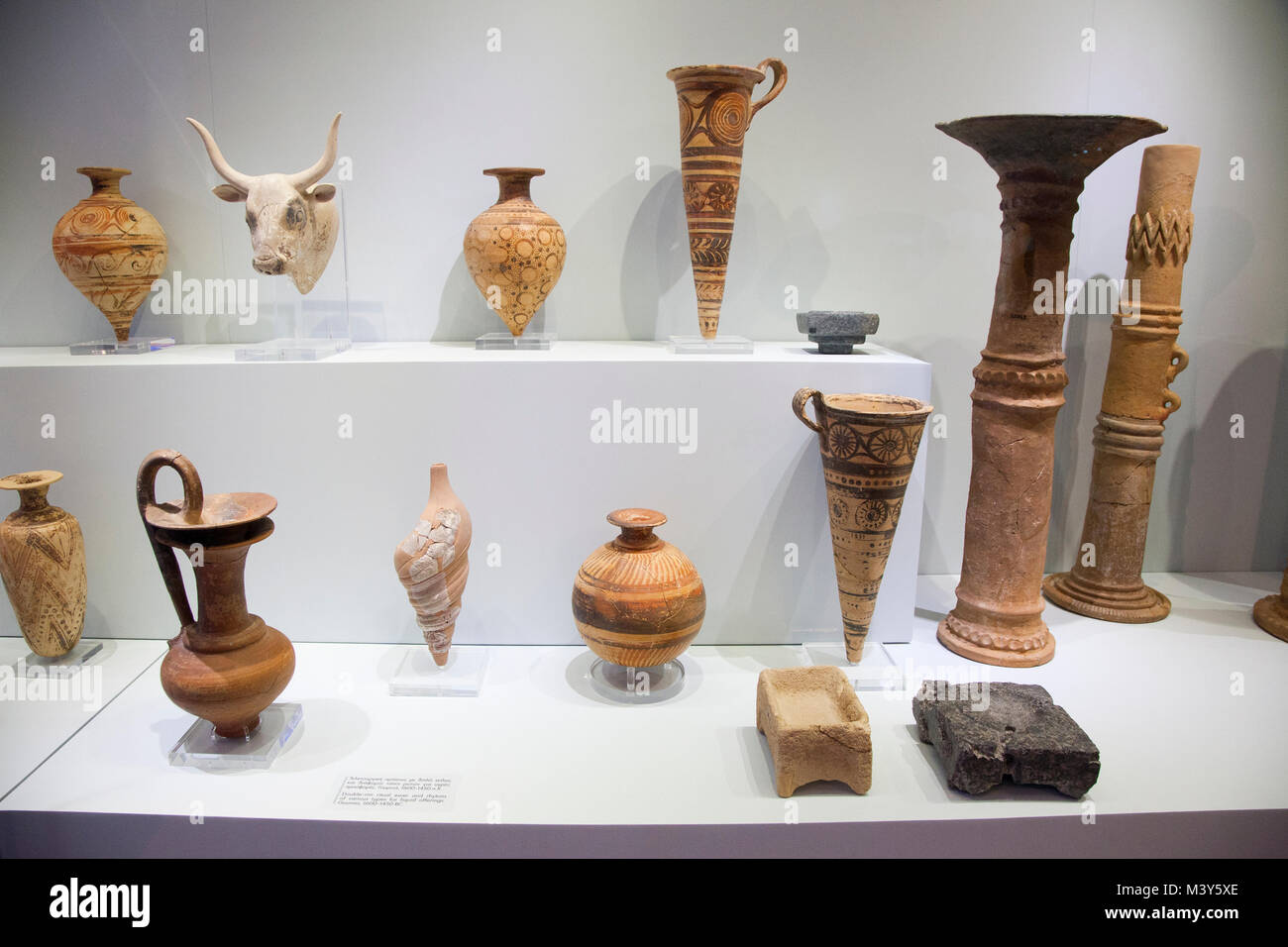Double rim ritual ewer and rhytons found in Gournia dated 1600-1450 BC, Archaeological Museum of Heraklion, Iraklio, Stock Photo