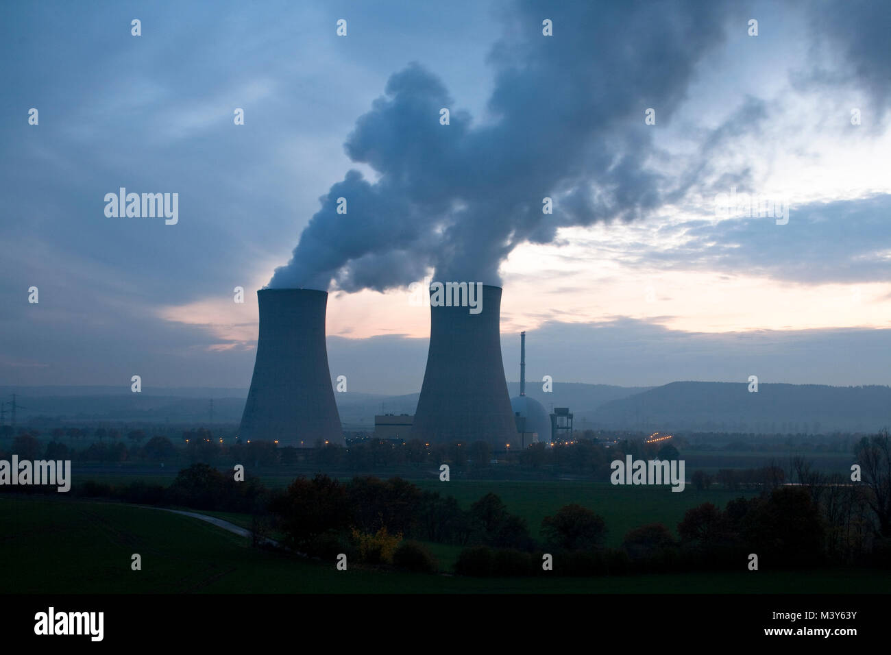Nuclear power plant Grohnde in Germany at a cloudy dawn - Stock Image