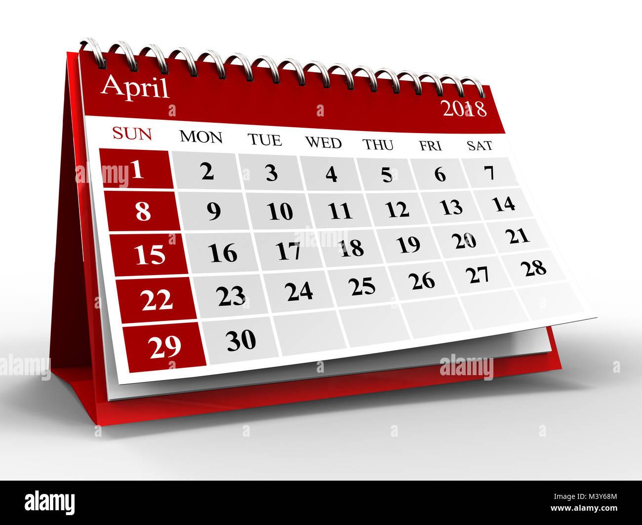Maxim 2022 Calendar.3d Illustration Of Calendar Over White With Shadow April 2018 Stock Photo Alamy