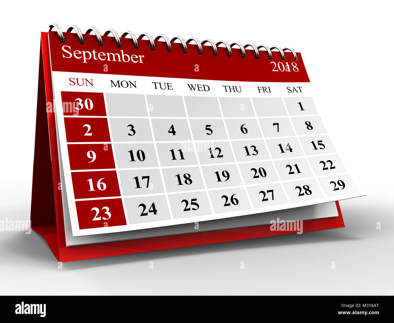 3d illustration of calendar over white with shadow