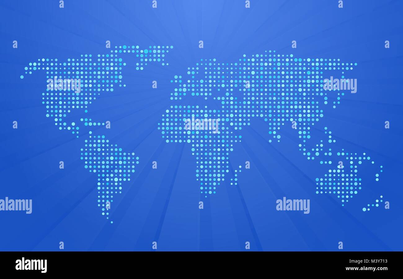 World map made up of small polka dots on blue background with rays world map made up of small polka dots on blue background with rays gumiabroncs Image collections
