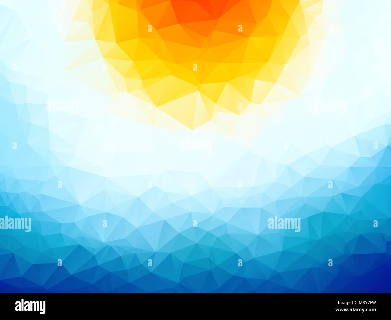 sun over the ocean triangular background - Stock Vector