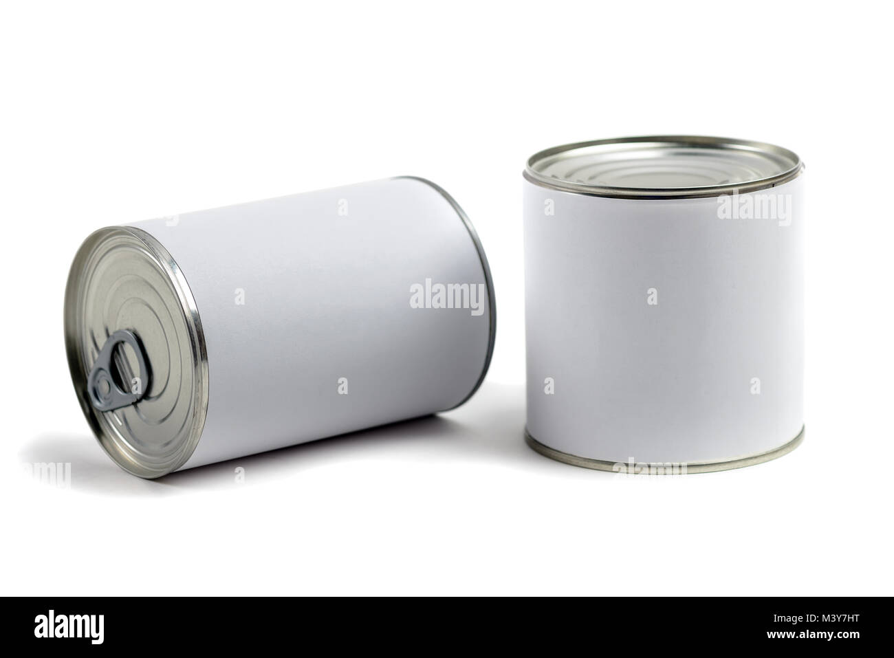 food tin cans on white background - Stock Image