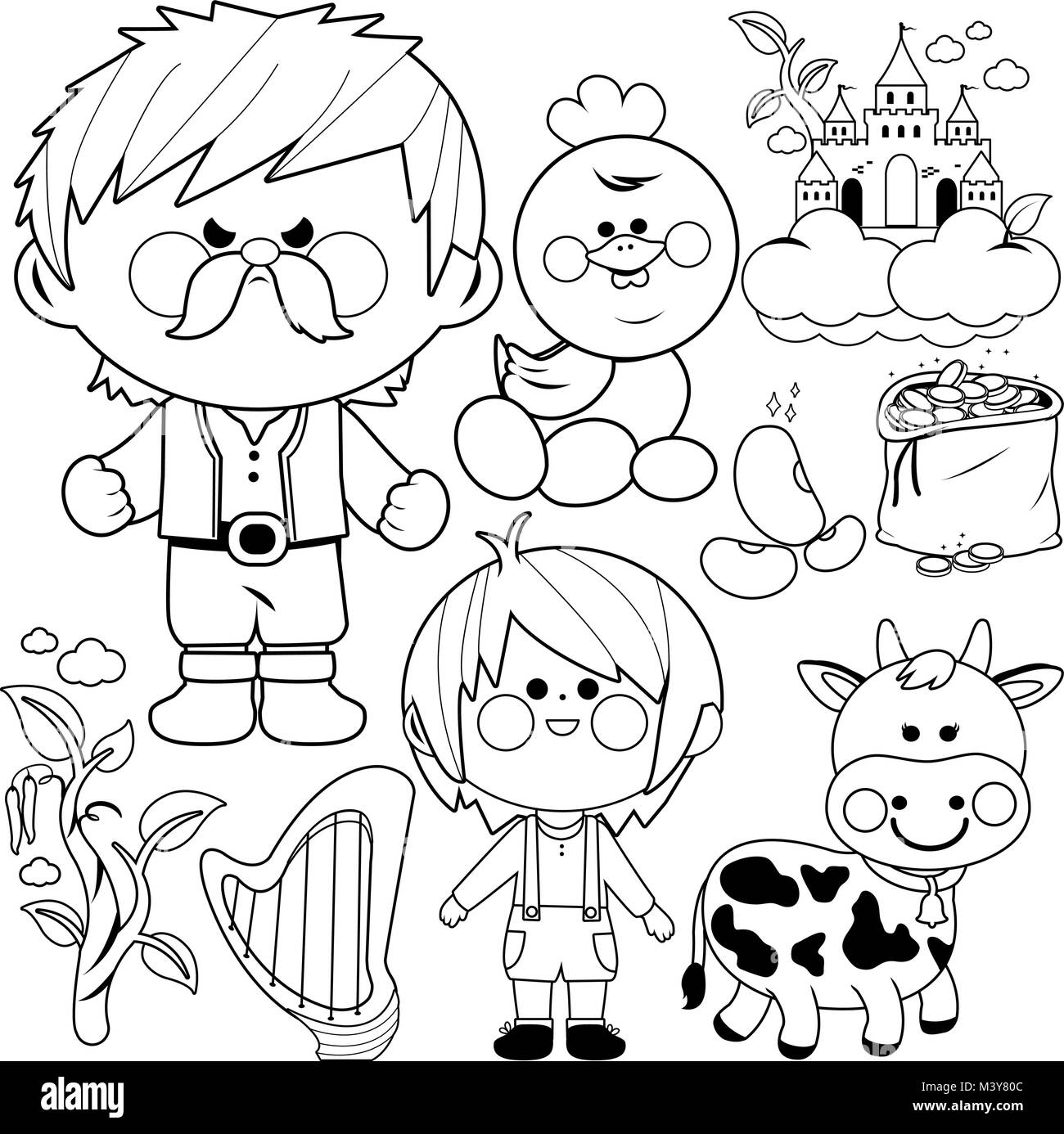 Jack and the magic beanstalk fairy tale vector collection. Black and white coloring book page Stock Vector