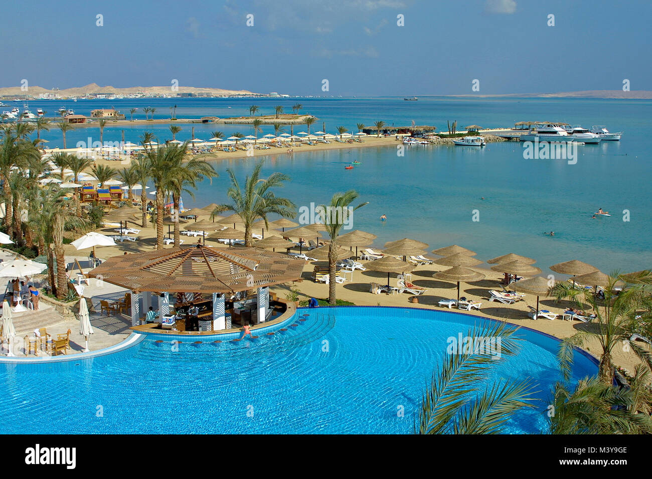egypt hurghada grand azur hotel the swimming pool and the red sea stock photo 174547870 alamy. Black Bedroom Furniture Sets. Home Design Ideas