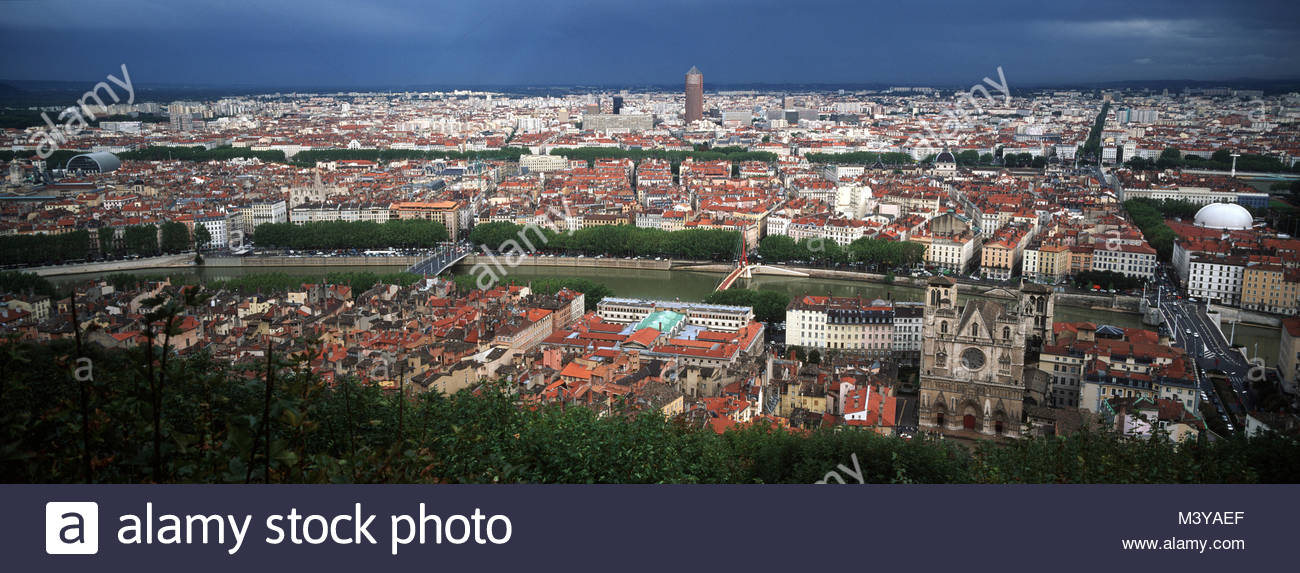 France, Rhone, Lyon, general views of the city from Notre Dame de Fourviere's Basilica built between 1872 and - Stock Image