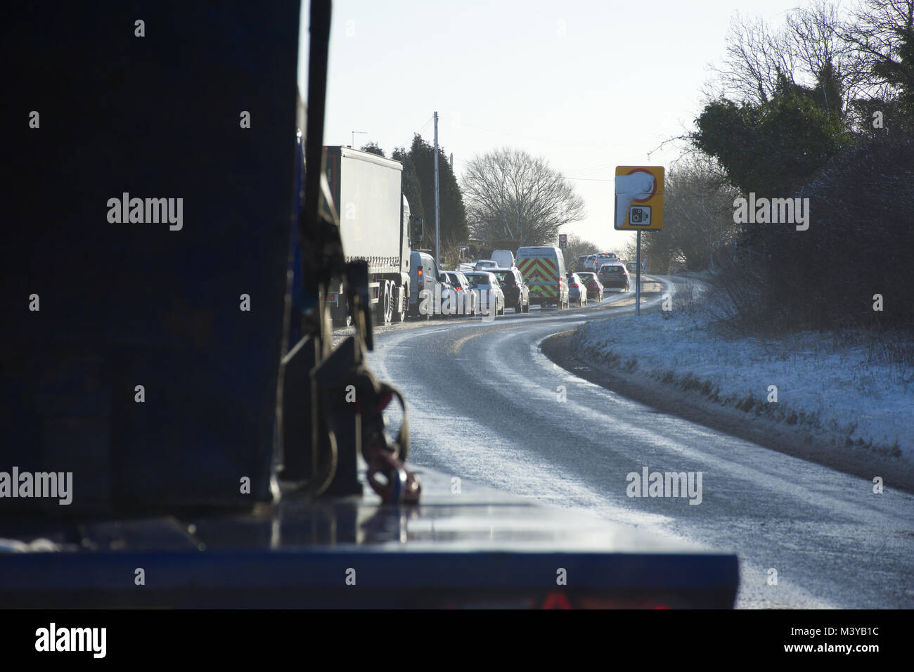 West Midlands,UK.12 February 2018.UK Weather.Icy conditions on Staffordshire roads causing severe delays and disruptions - Stock Image