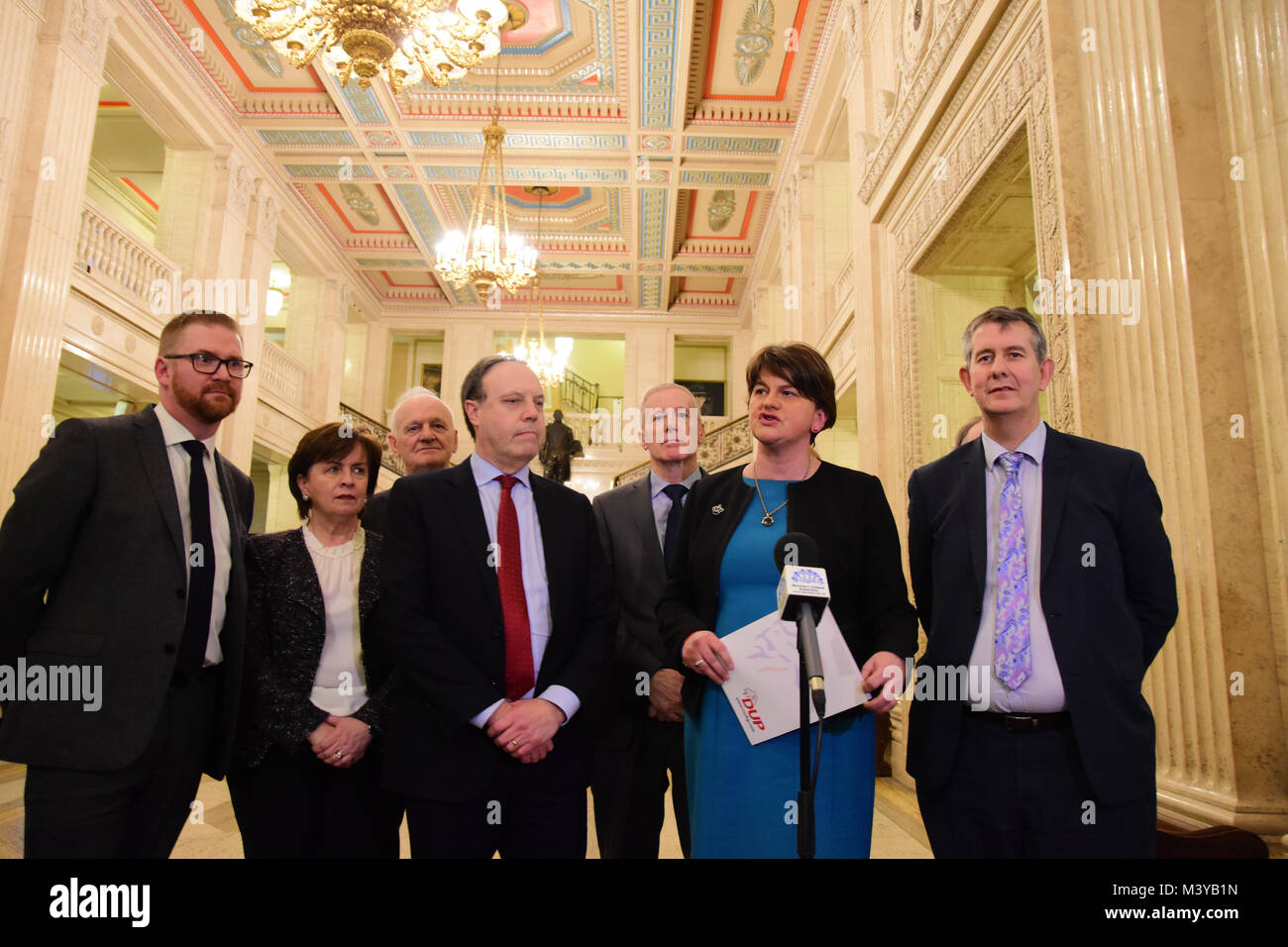 Belfast, UK. 12th Feb, 2018. DUP Party Leader Arlene Foster and members of her party address  media during assembly - Stock Image