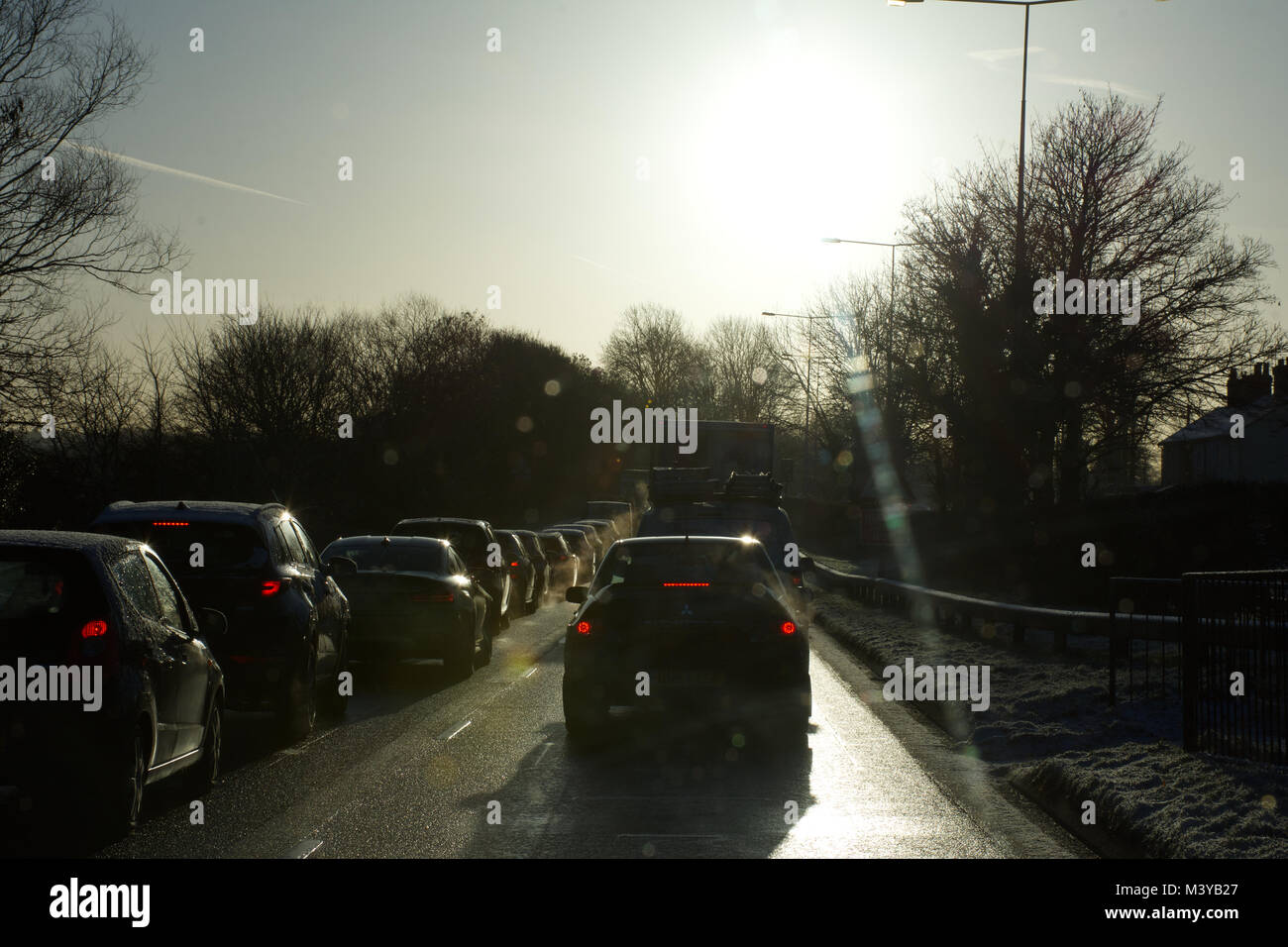 West Midlands, UK.12th Feb, 2018. UK Weather. Icy conditions on Staffordshire roads causing severe delays and disruptions - Stock Image