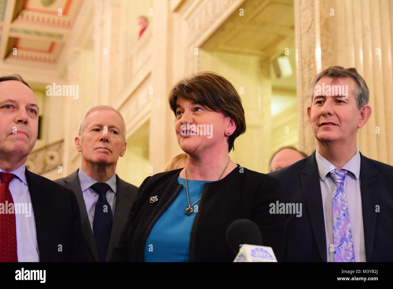 Belfast, UK. 12th Feb, 2018. DUP Party Leader Arlene Foster addresses  media during assembly talks. Belfast: UK: - Stock Image