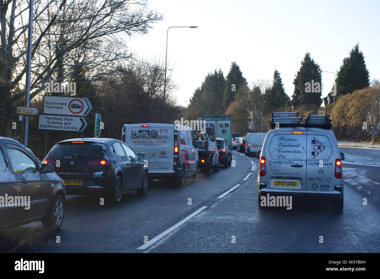 Midlands,UK.12 February,2018.UK Weather.Icy conditions on Staffordshire roads causing severe delays and disruptions - Stock Image