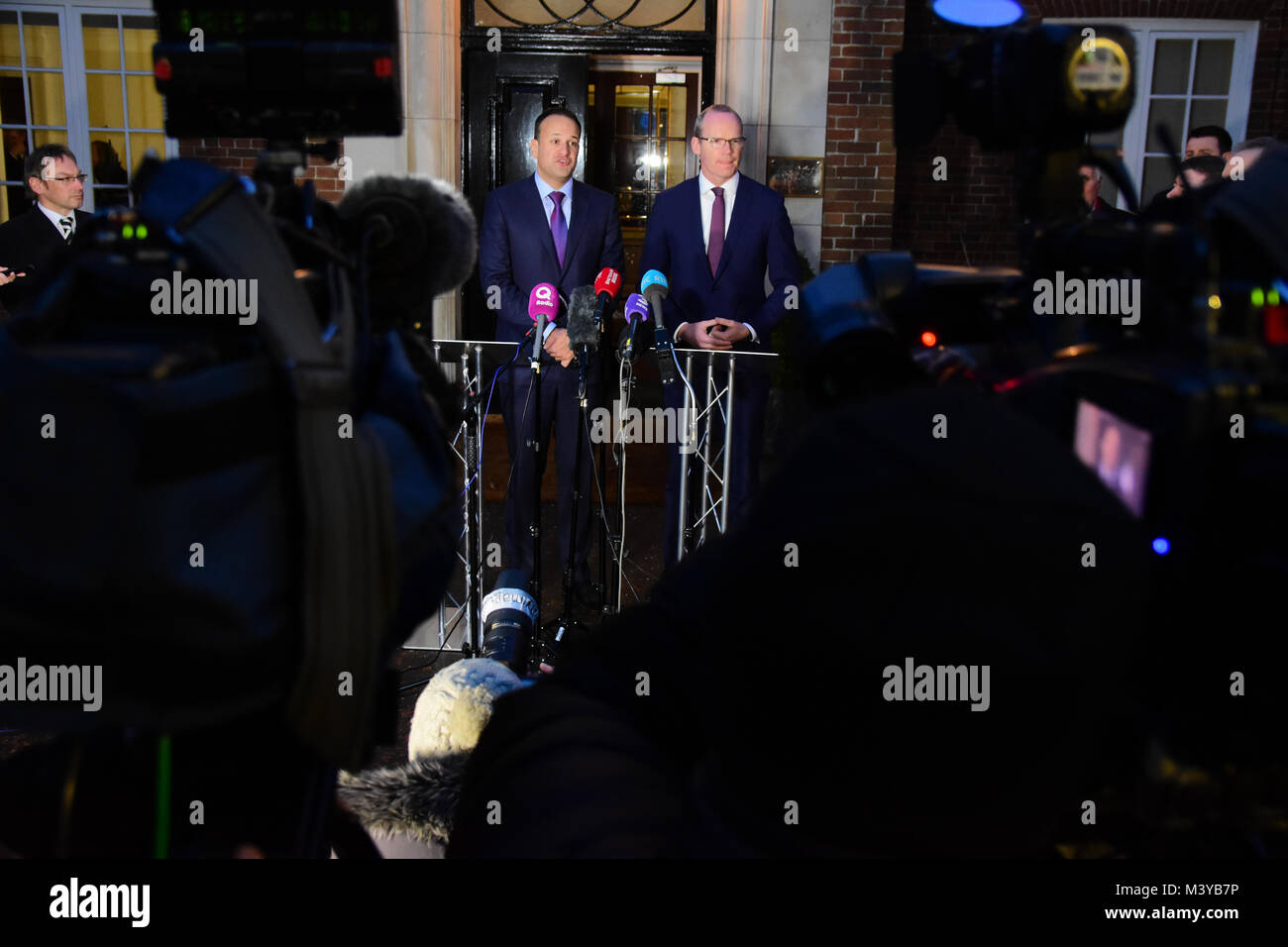 Belfast, UK. 12th Feb, 2018. Irelands Taoiseach Leo Varadkar and Tánaiste Simon Coveney address media at Stormont - Stock Image