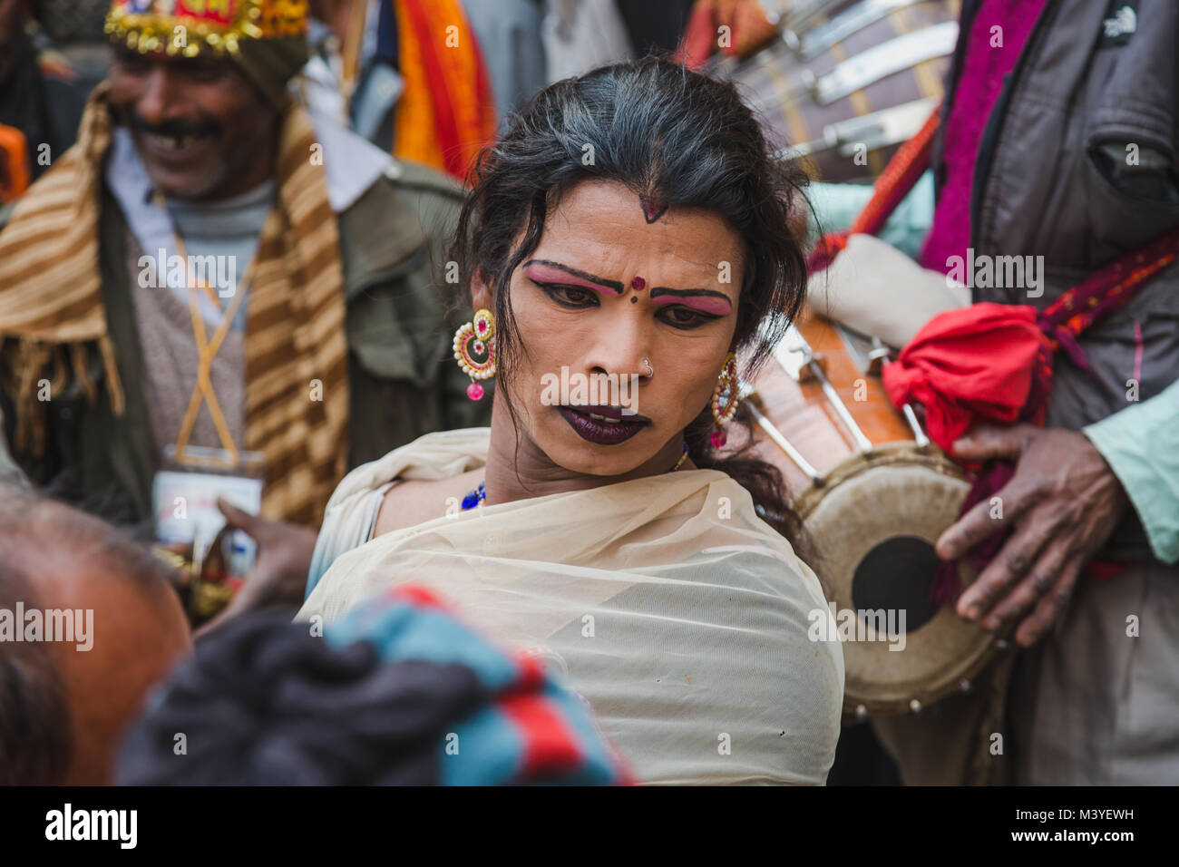 Kathmandu, Nepal. 12th Feb, 2018. Hindu devotees dancing to make Lord Shiva happy at Bol Bom and Mahashivaratri - Stock Image