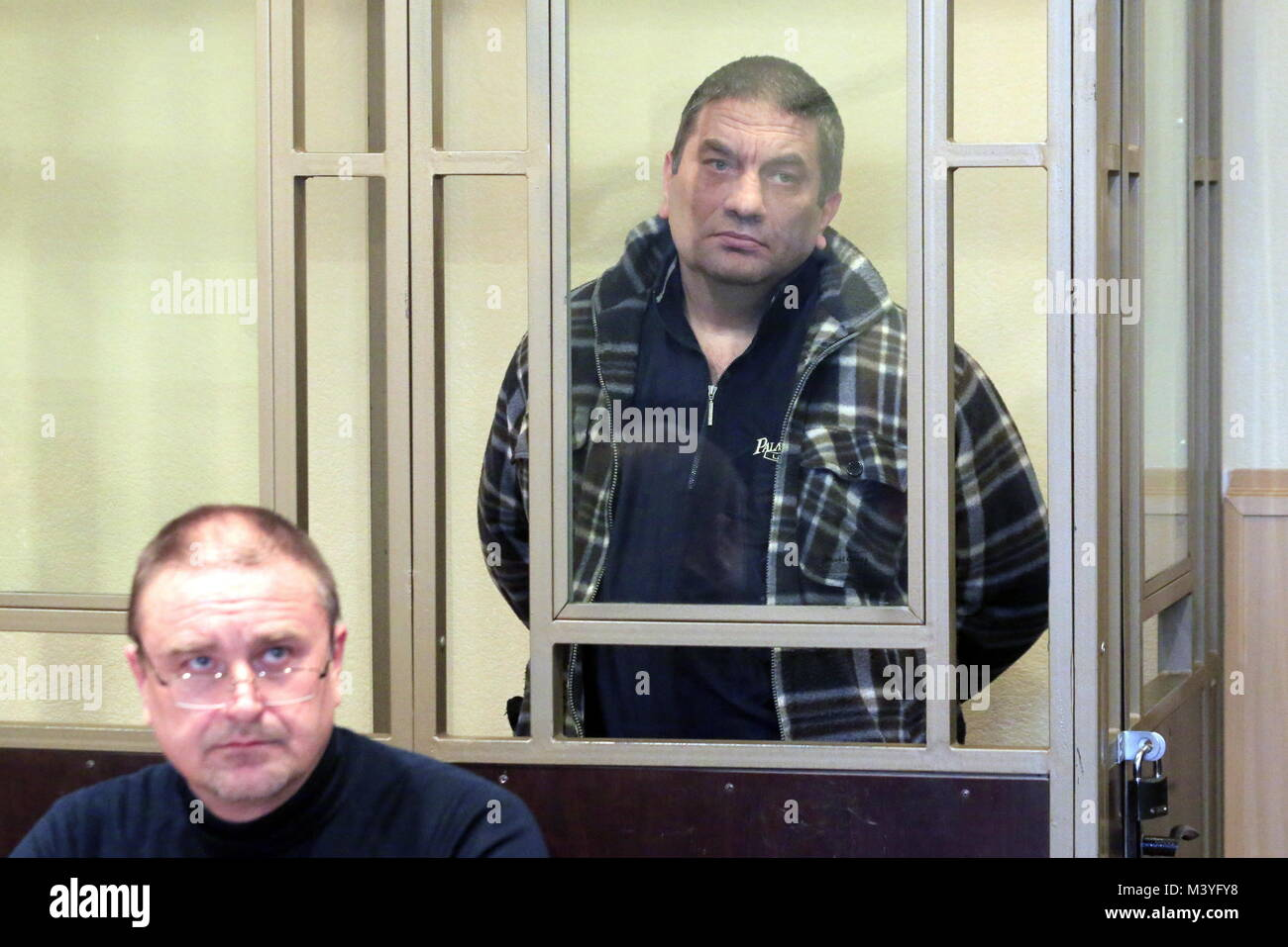 Rostov On Don, Russia. 13th Feb, 2018. ROSTOV-ON-DON, RUSSIA - FEBRUARY 13, 2018: Badruddi Daudov (R) charged with - Stock Image