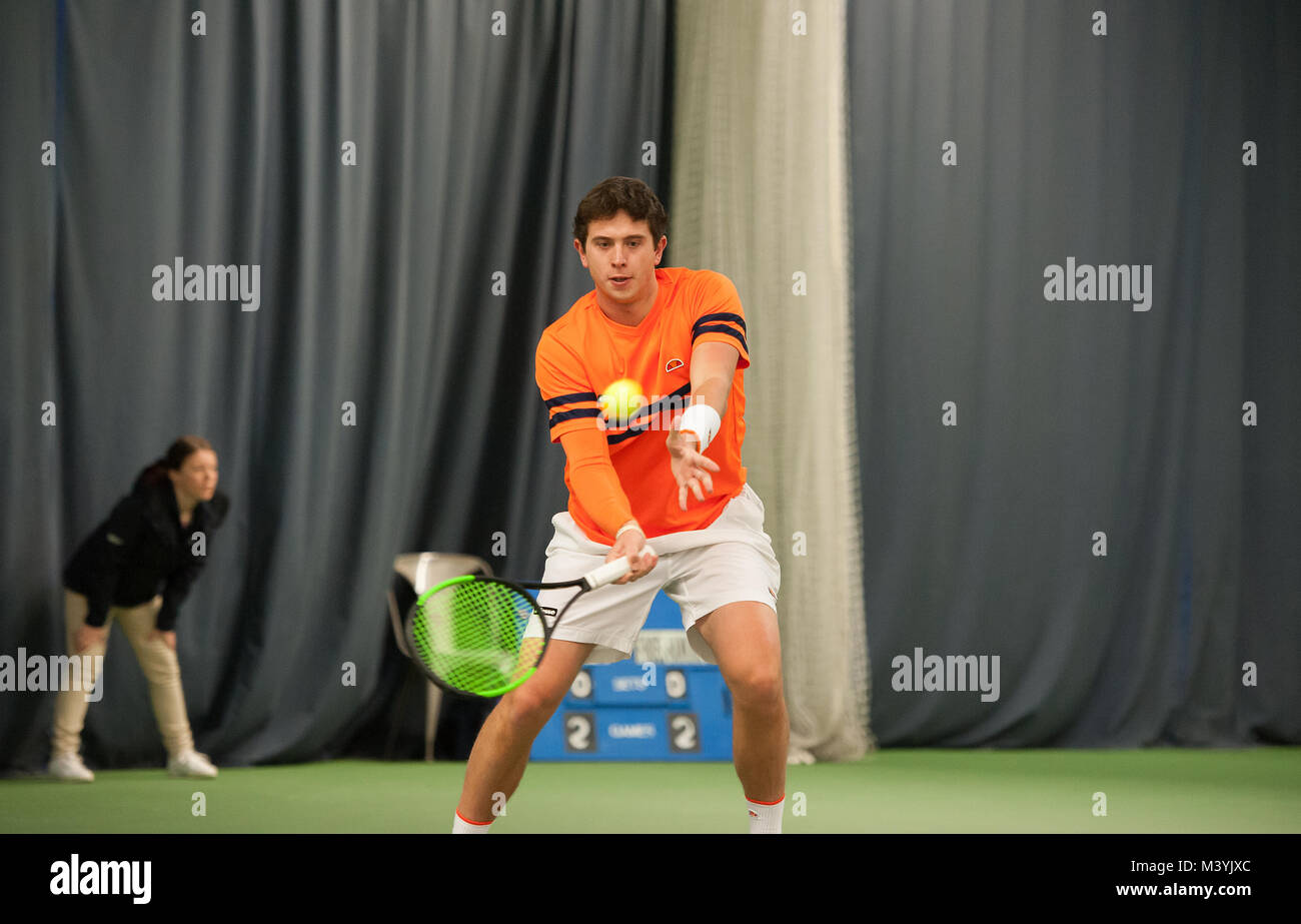Jack Findel-Hawkins from Exmouth playing in GB Pro-series Tennis - Stock Image