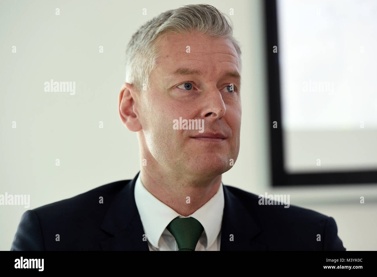 Prague, Czech Republic. 13th Feb, 2018. Milan Slapak of the GE Aviation Czech attends the press conference on cooperation - Stock Image