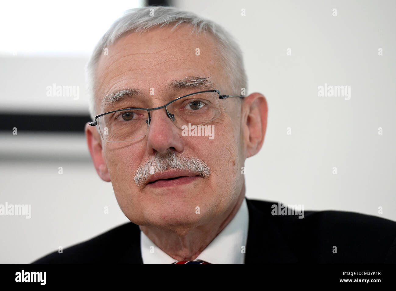 Prague, Czech Republic. 13th Feb, 2018. Dean Michael Valasek attends the press conference on cooperation in developing - Stock Image