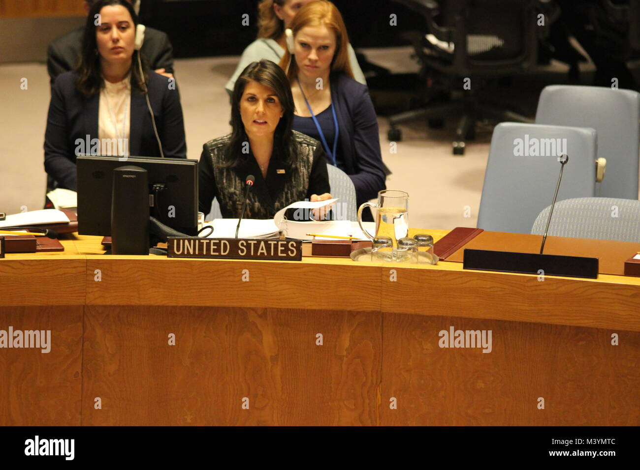 UN, New York, USA. 13th Feb, 2018. Nikki Haley, US Ambassador, speaks about Myanmar and the Rohingya to the UN SecurityStock Photo