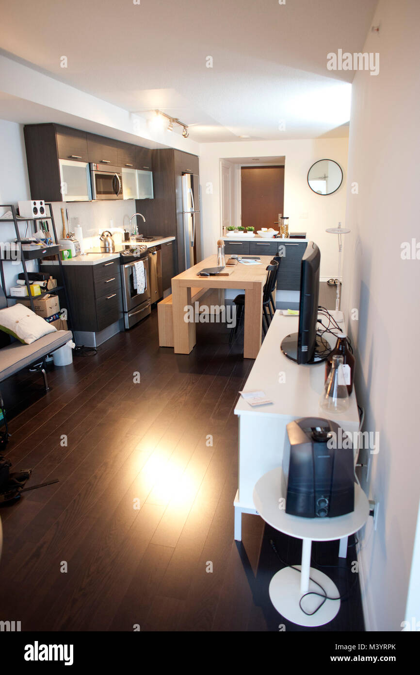 A furnished Aura building condo, which will be the largest residential building in Canada, in downtown Toronto, Stock Photo