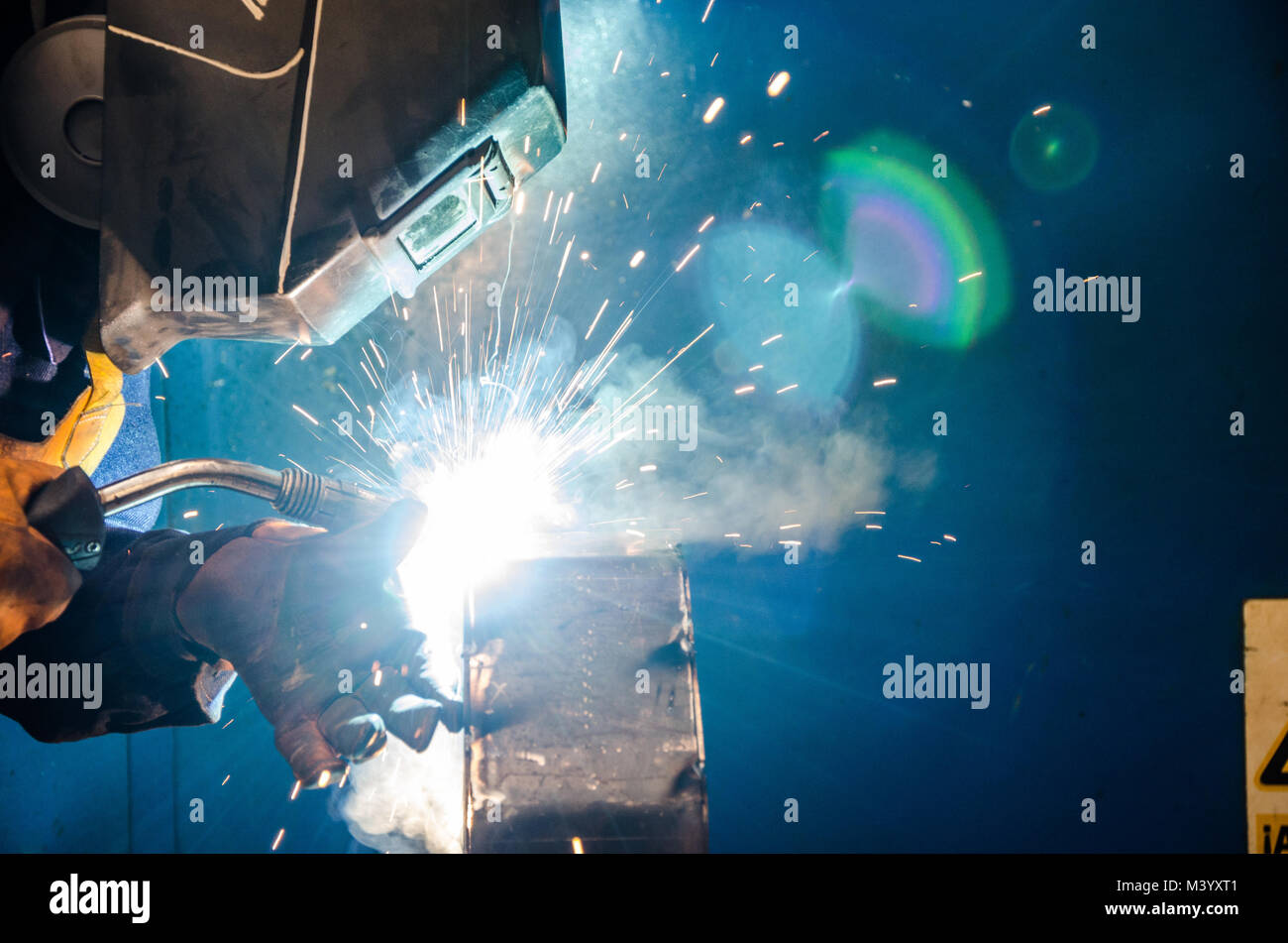 Welding a metal structure - Stock Image