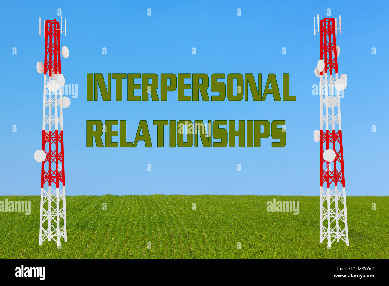 3D illustration of INTERPERSONAL RELATIONSHIPS script two communication poles - Stock Image